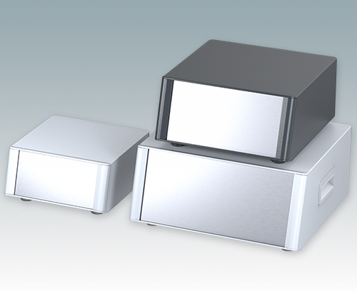 Enclosures with sloping front panel